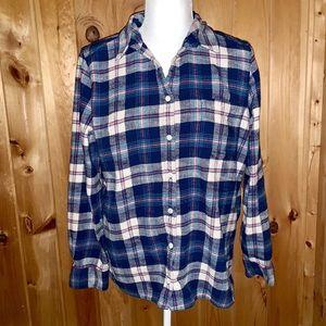 J. Crew blue/white heavyweight flannel size 12